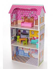 Домик для кукол 1549 деревянный. 3 этажа. Мебель