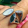 Модное серебряное кольцо с перламутром - Брендовое кольцо с перламутром, фото 6