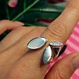 Модное серебряное кольцо с перламутром - Брендовое кольцо с перламутром, фото 4