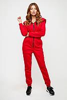 Красный женский утепленный комбинезон на молнии, фото 1