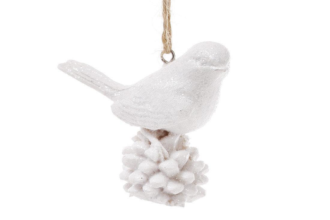 Елочное украшение Bonita Птичка 6 см Белый ( 829-108)