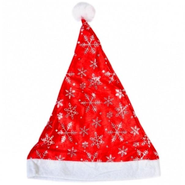 Шапка Деда Мороза со снежинками красная