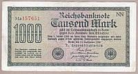 Банкнота Германии 1000 марок 1922 г VF