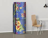 Магнитная наклейка на холодильник Пышные цветы на Ткани, виниловый магнит, 600*1800 мм, Лицевая