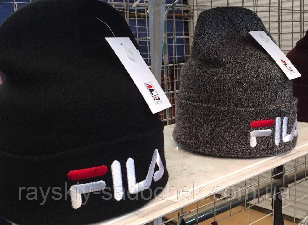 Мужская шерстяная  шапка с логотипом FILA на флисе