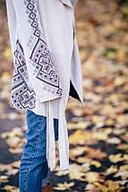 Вязаный кардиган в этно-стиле Кристина (лён, капучино, черный), фото 2