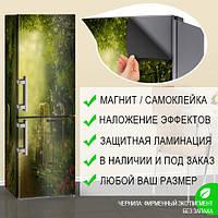 Магнитная наклейка на холодильник Сказочные блики над ветхим забором, виниловый магнит, 600*1800 мм, Лицевая