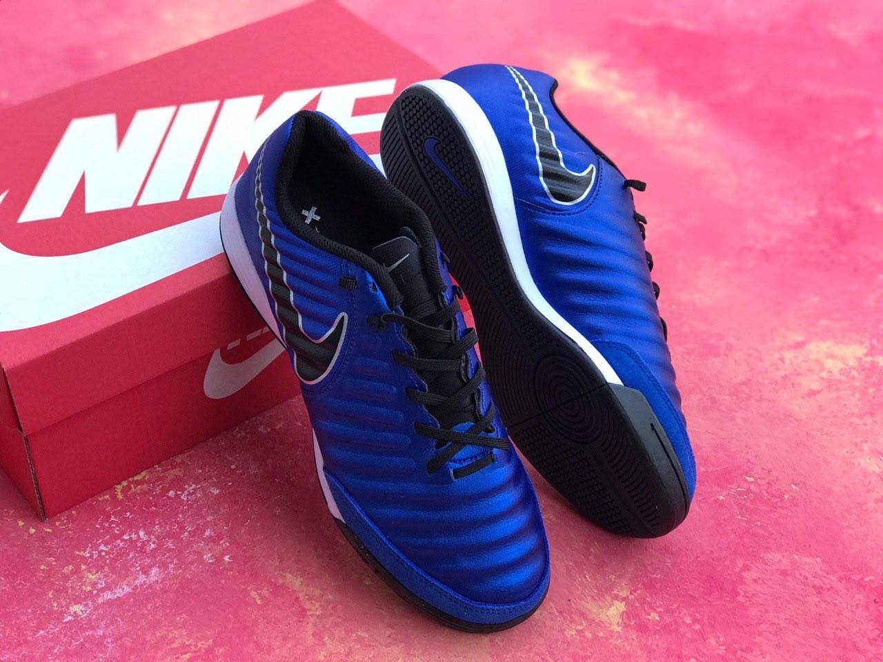Футзалки Nike Tiempo X футбольная обувь Синие