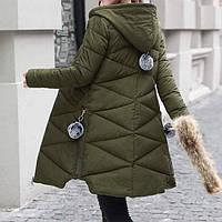 Куртка зимняя женская зеленая, длинный пуховик СС-7872-40