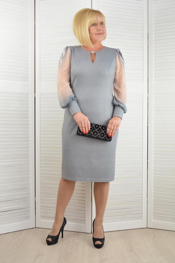"""Платье """"Артемида"""" серое - Модель 1442-13 ( 52 размер)"""