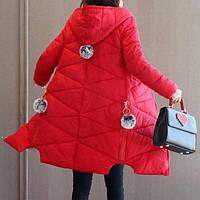 Куртка зимняя женская красная, длинный пуховик СС-7872-35