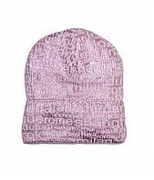 Шапка детская для девочки на флисе зима розовая