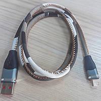 Шнур штекер USB А - штекер miсro USB (Samsung), джинсовый, 1м, хаки зелёный
