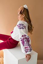 Біла жіноча вишиванка Жарптиця з малиновою вишивкою, фото 2