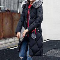 Куртка зимняя женская черная, длинный пуховик размер 46 (XXL) СС-7856-10