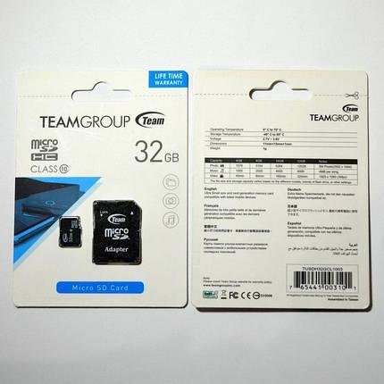 Карта памяти microSDHC TEAM 32Gb class 10 (adapter SD), фото 2