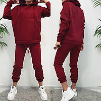 Женский костюм теплый на зиму бордового цвета 42-44, 46-48
