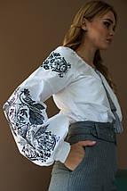 Блуза женская с черно серой вышивкой Жарптица, фото 2