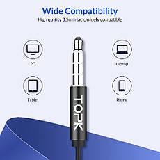 TOPK F07 спортивные стерео наушники проводные со встроенным микрофоном Black, фото 3