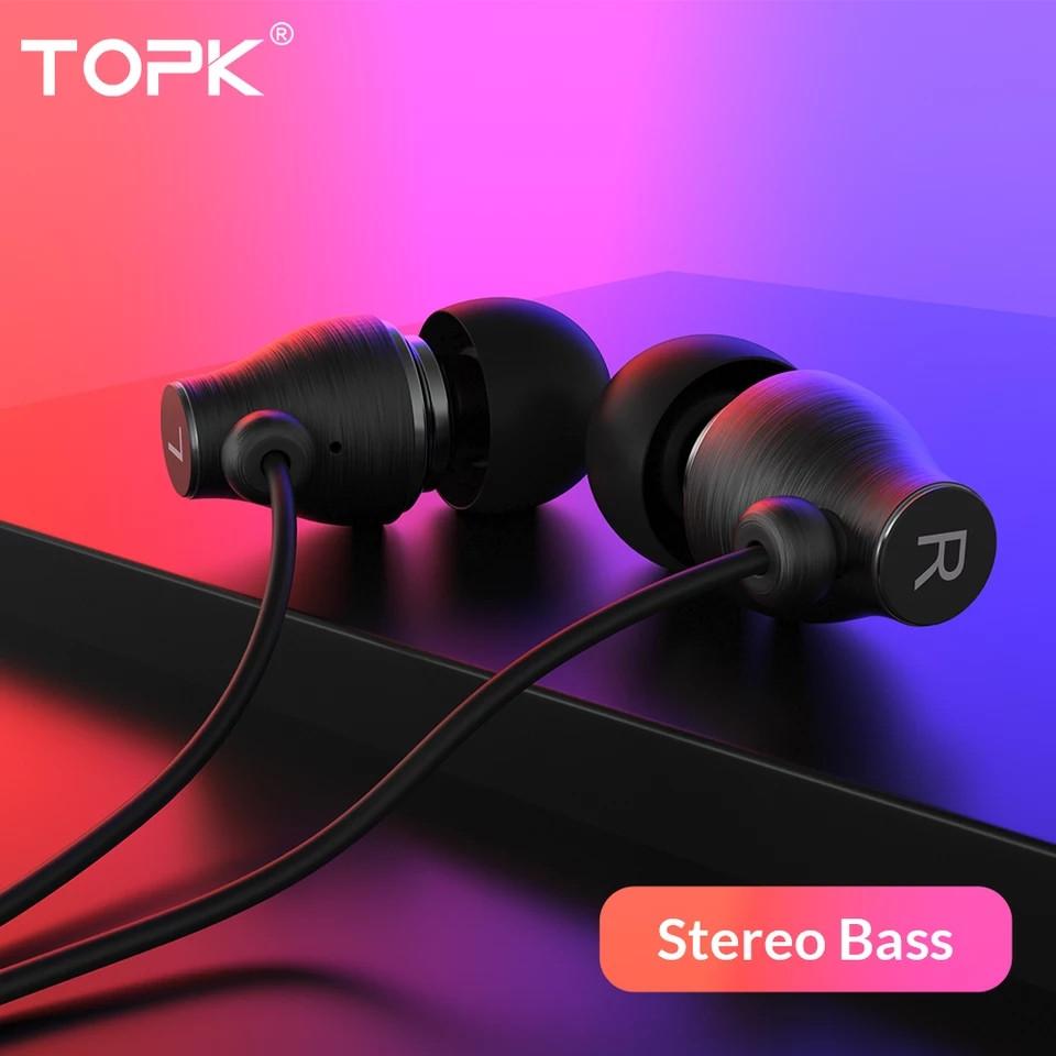TOPK F07 спортивные стерео наушники проводные со встроенным микрофоном Black