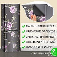 Магнитная наклейка на холодильник Розы в стиле Обои, виниловый магнит, 600*1800 мм, Лицевая