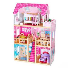 Домик для кукол 1039 деревянный. 3 этажа. 5 комнат. Мебель