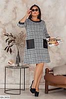 Батальное платье в клетку А-силуэта со вставками с еко кожи арт 495а