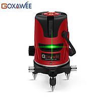 Лазерный уровень нивелир GOXAWEE 360 градусов 5 линий 6 точек зеленый луч