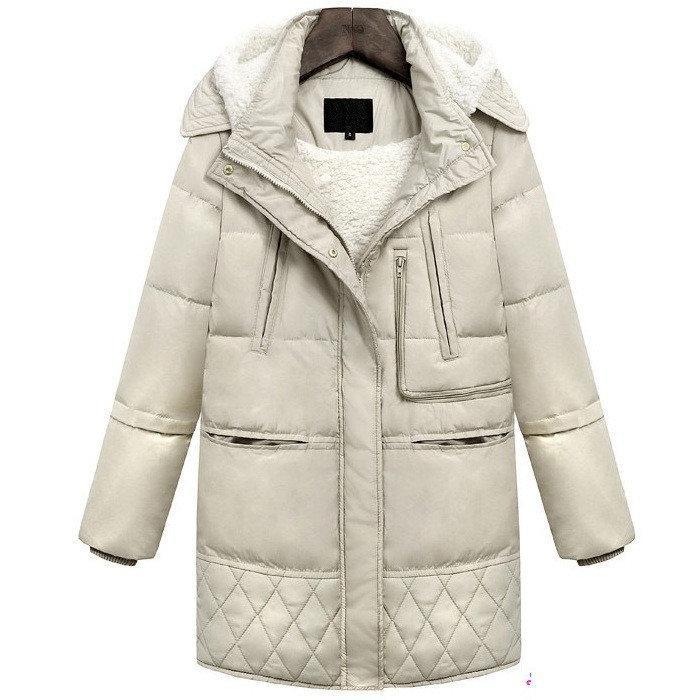 Куртка зимняя женская бежевая, длинный пуховик, СС-7808-16