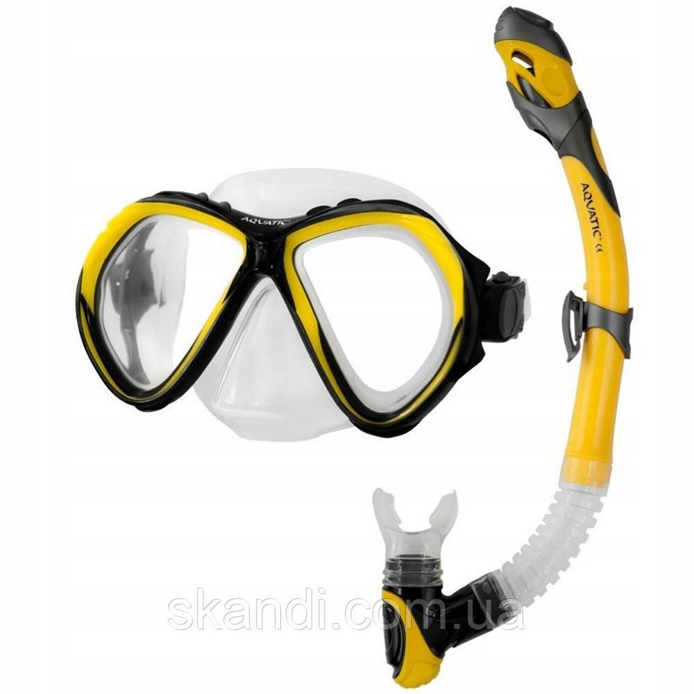 Комплект для дайвинга маска Aquatic Zona + трубка Elba