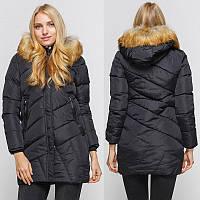 Куртка зимняя женская черная, пуховик  размер 46 (3XL) СС-8472-10