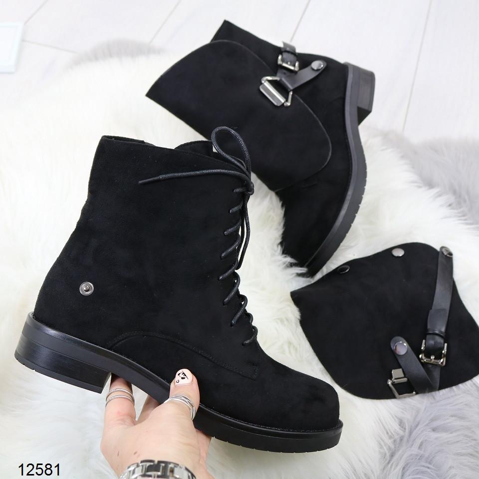 Женские демисезонные ботинки черного цвета, из эко замши 37 40 ПОСЛЕДНИЕ РАЗМЕРЫ