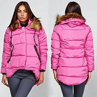 Куртка зимняя женская короткая, пуховик, цвет розовый  CC-6553-30