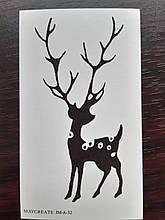 """Новогодняя татуировка """"Олень"""" - размер стикера 10*6см"""