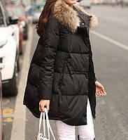 Куртка зимняя женская черная, длинный пуховик CC-5806-10