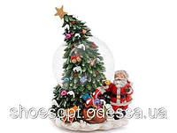 Снежный шар музыкальный Елка и Дед Мороз светящийся