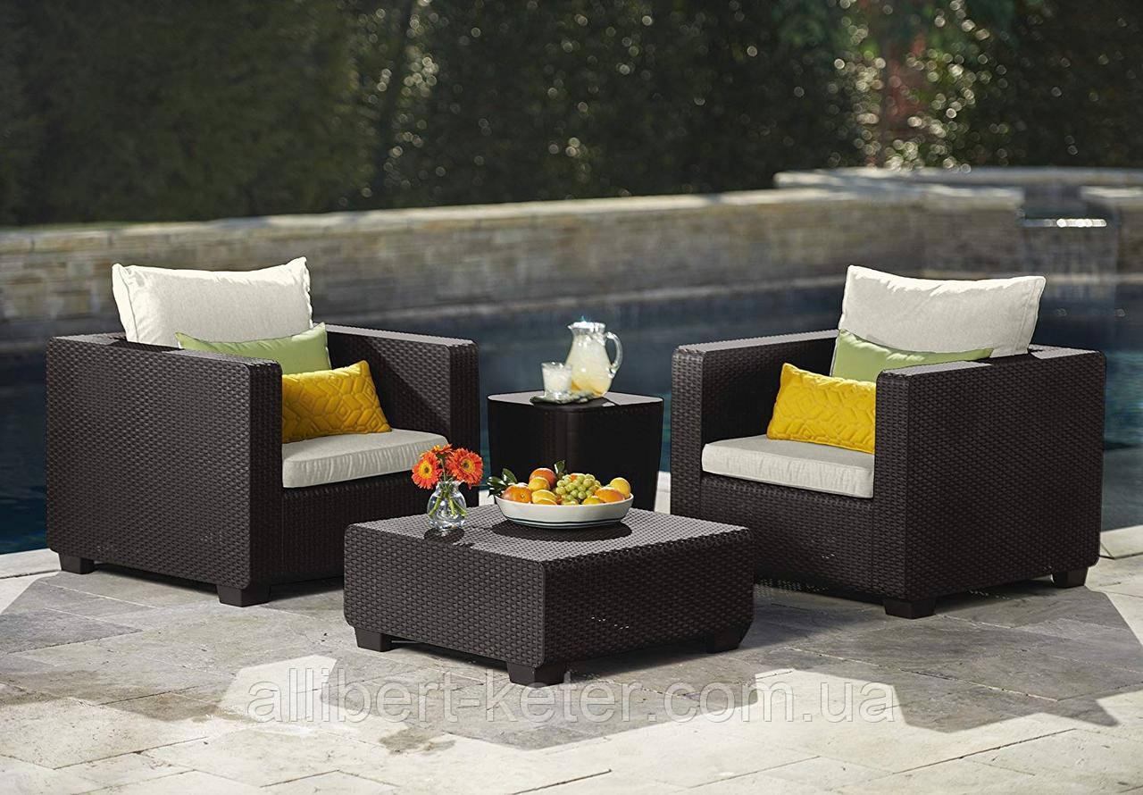 Набор садовой мебели Salta Duo Set Brown ( коричневый ) из искусственного ротанга ( Allibert by Keter )