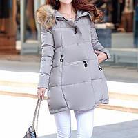 Куртка зимняя женская серая, длинный пуховик размер 40 (M)  CC-5806-75