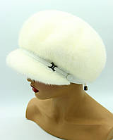Женская кепка из норки 10-ь клинов ребром (белая).