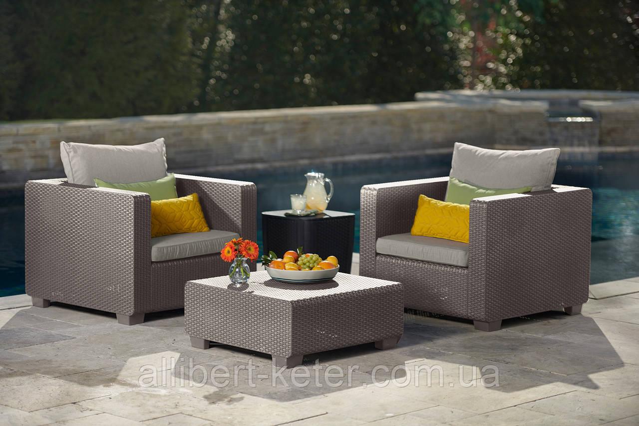 Набор садовой мебели Salta Duo Set Cappuccino ( капучино ) из искусственного ротанга ( Allibert by Keter )
