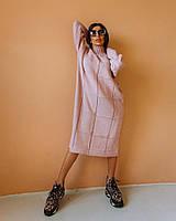 Вязаное пудровое женское платье свободного кроя