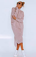 Длинное вязаное платье свободного кроя