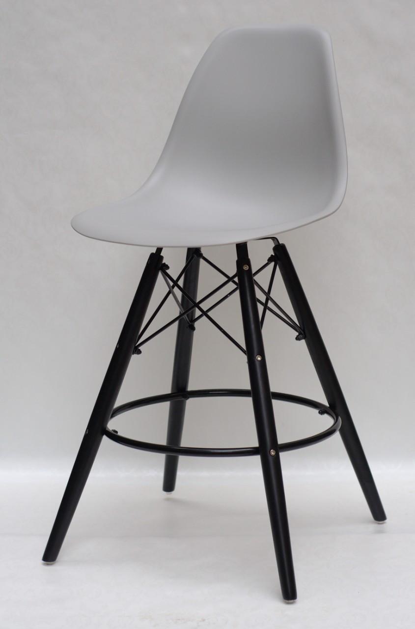Полубарный стілець Nik BK Eames, світло-сірий