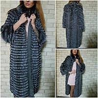 Пальто из натуральной чернобурки длина 105 см