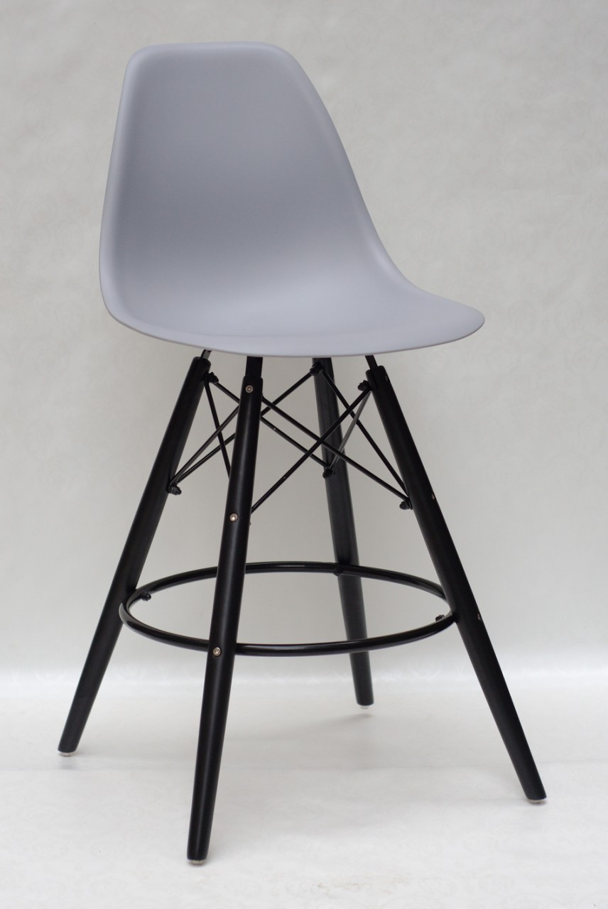 Полубарный стул Nik BK Eames, серый