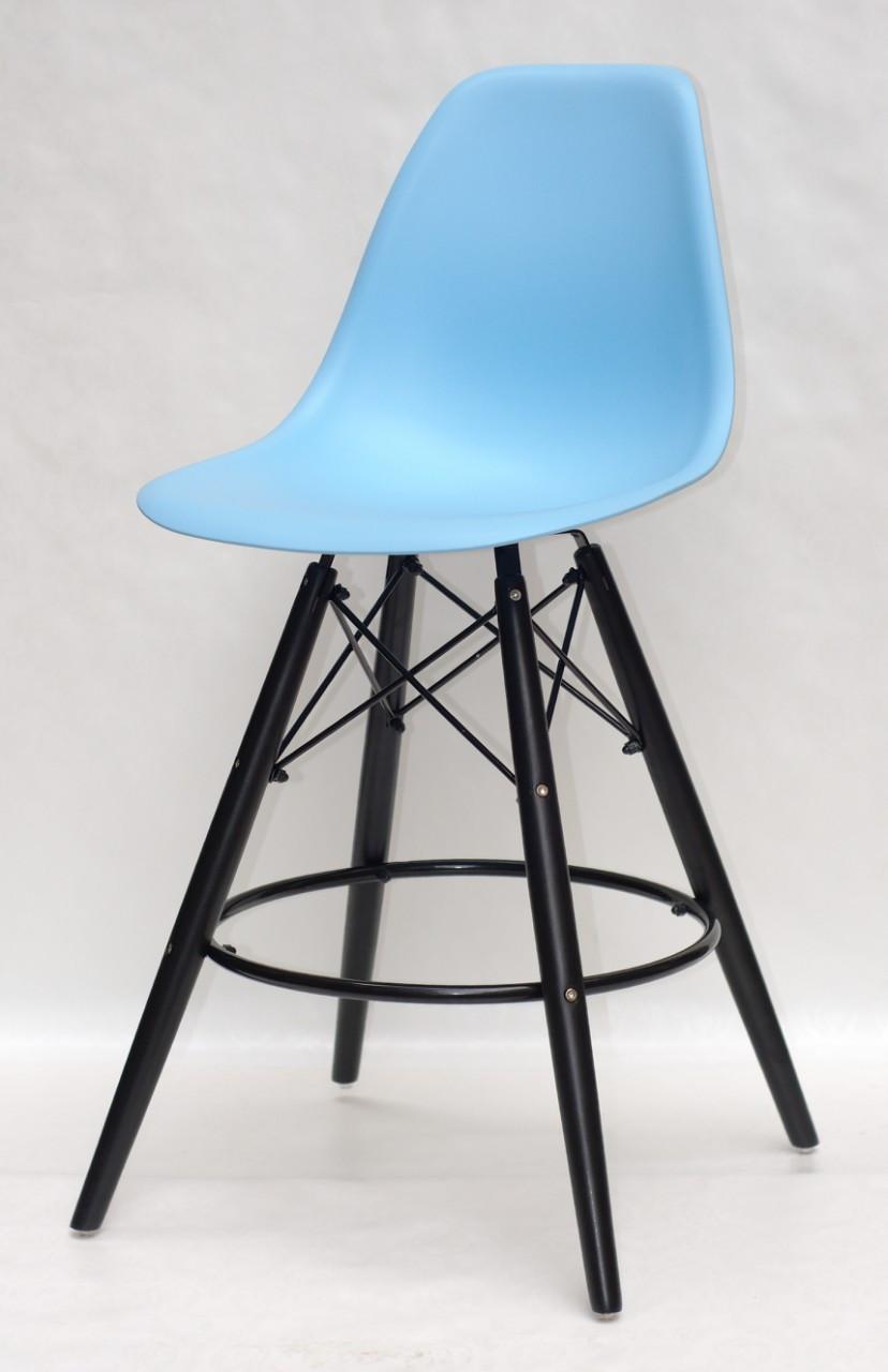 Полубарный стул Nik BK Eames, голубой