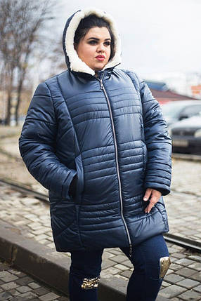 Женская зимняя куртка  утеплённая овчиной  батал с 52 по 82 размер, фото 2