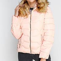Куртка зимняя женская короткая, пуховик, цвет розовый  CC-8484-30