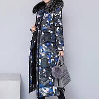 Куртка зимняя женская черная, длинный разноцветный пуховик СС-8485-50