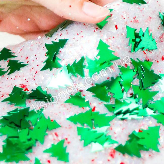 Добавка для слаймов - блестки елочки 100 шт., очень яркие и красиво переливаются